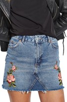 Topshop Women's Rose Denim Miniskirt
