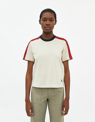 Stussy Women's Block Ss Contrast T-Shirt in Natural, Size Extra Small   100% Cotton