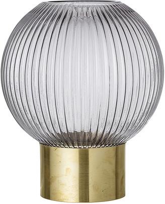 Bloomingville - Ridged Spherical Glass Vase - Grey/Brass - Large