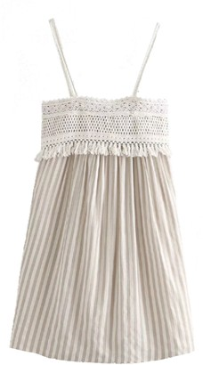 Goodnight Macaroon 'Kim' Crochet Lace Tassels Striped Dress