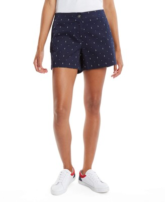 Nautica Women's Hint of Vocation Tailored Stretch Cotton Patterned Short