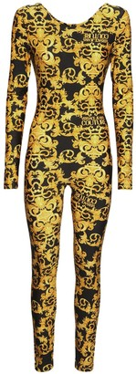 Versace Jeans Couture Printed Stretch Jersey Fitted Jumpsuit