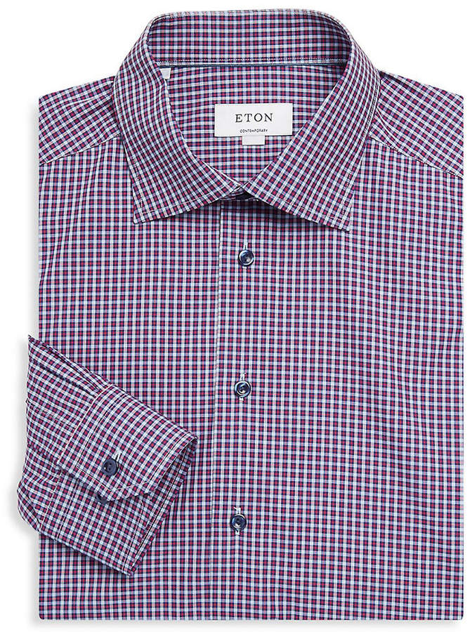 Eton Contemporary-Fit Plaid Dress Shirt