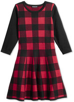 Sequin Hearts Long-Sleeve Checked Skater Dress, Big Girls (7-16)