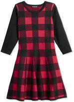 Sequin Hearts Long-Sleeve Checked Skater Dress, Big Girls (7-16)