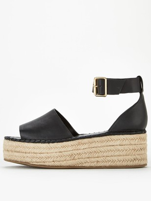 Very Danna Two Part Ankle Strap Wedges - Black