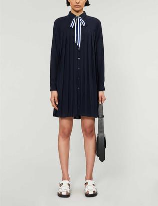 Claudie Pierlot Contrast neck-tie pleated crepe dress