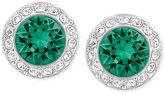 Swarovski Silver-Tone Green Crystal Halo Stud Earrings