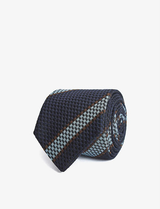 Reiss Parma striped woven wool-blend tie