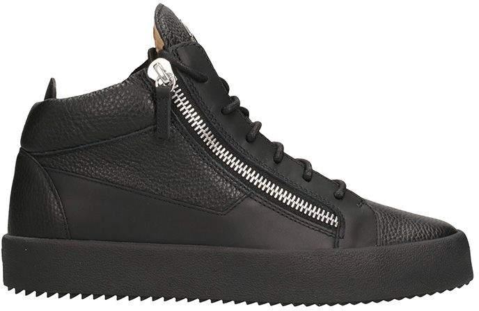 Giuseppe Zanotti Kriss Black Leather Mid Sneakers