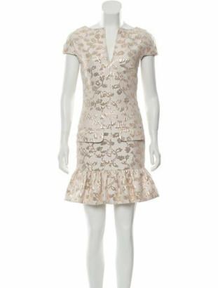 Pascal Millet Floral Print Mini Dress w/ Tags Gold