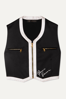 Versace Cropped Embroidered Satin Vest - Black