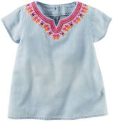 Carter's Toddler Girl Short Sleeve Embroidered Chambray Top