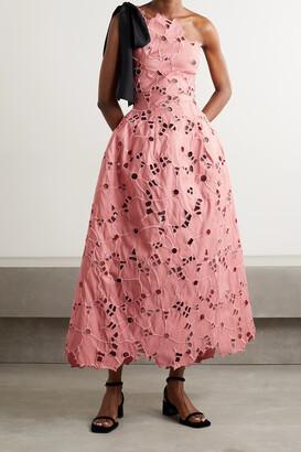 OSCAR DE LA RENTA - One-shoulder Satin-trimmed Broderie Anglaise Taffeta Midi Dress - Pink