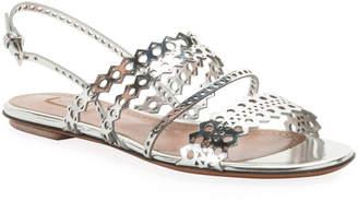 Alaia Flat Laser-Cut Metallic Slingback Sandals