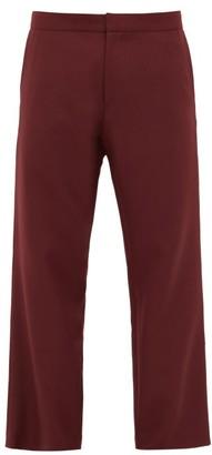 Edward Crutchley Wool-blend Straight-leg Trousers - Mens - Burgundy