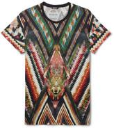 Balmain Printed Cotton and Linen-Blend Jersey T-Shirt