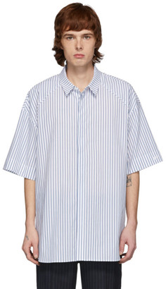 Juun.J White and Blue Poplin Striped Short Sleeve Shirt