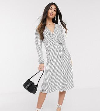 Vila Petite midi dress with wrap detail in mono spot
