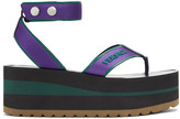 Versace Purple and Green Flatform Sport Sandals