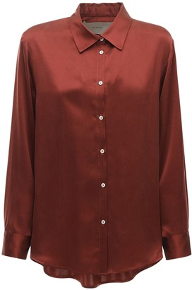 ASCENO The London Silk Satin Pajama Top