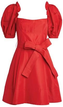 Self-Portrait Taffeta Puff-Sleeved Mini Dress