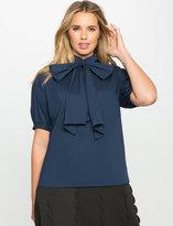 ELOQUII Plus Size Short Sleeve Bow Blouse