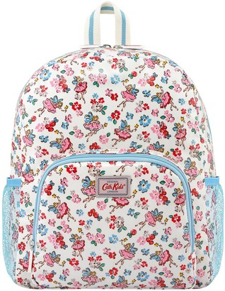 Cath Kidston Girls Little Fairies Large Backpack With Mesh Pocket - Oyster Shell