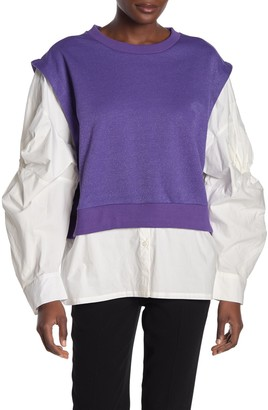 Tov Samba Puff Sleeve Twofer Sweater