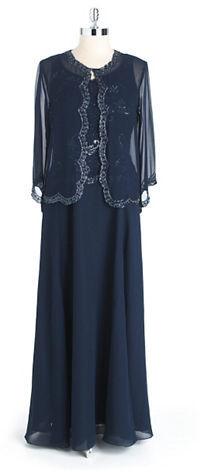 J Kara Two Piece Beaded Gown