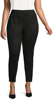 Laundry by Shelli Segal Plus Suede Zipped Pants