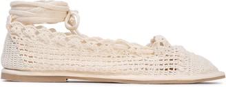 ALEXACHUNG Lace-up Metallic Crochet-knit Ballet Flats