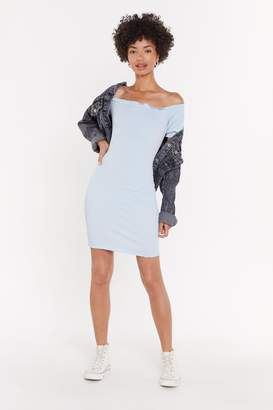 Nasty Gal Womens Overboard Off-the-Shoulder Mini Dress - blue - 12