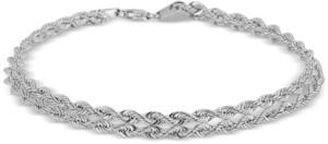 "Italian Gold Twisted Rope ""Heart"" Link Bracelet in 14k White Gold"
