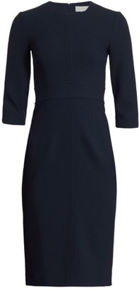 Michael Kors Stretch-Wool Three-Quarter Sleeve Sheath Dress