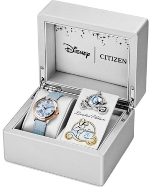 Citizen Citixen Eco-Drive Women's Cinderella 70th Anniversary Blue Leather Strap Watch 32mm, A Limited Edition