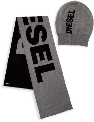 Diesel Colorblock Logo Hat and Scarf Set