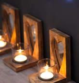 The Forest & Co Wooden Heart Tea Light Holder