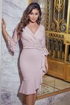 Sistaglam Tia Blush LACE TOP FRILL SLEEVE Dress