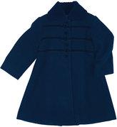 Florence Eiseman Velvet-Trim Wool-Blend Coat, Navy, Size 2-6X