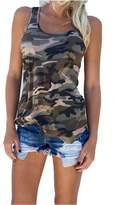 So-So TANKS So-So Camouflage Wild Round Neck Sleeveless Blouses Streetwear Casual