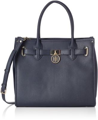 Tommy Hilfiger Womens American Icon Tote Canvas and Beach Tote Bag Blue (Tommy Navy)