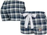 Unbranded Women's Concepts Sport Navy/Gray Oklahoma City Thunder Piedmont Flannel Sleep Shorts