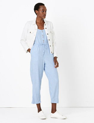 Marks and Spencer Linen Striped Sleeveless Waisted Jumpsuit
