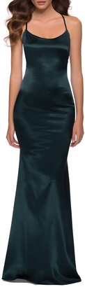 La Femme Strappy Stretch Satin Trumpet Gown