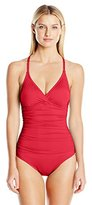 Jantzen Women's Slim Solid Halter Macrame Back One Piece Swimsuit