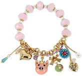 Betsey Johnson Gold-Tone Pink Beaded Pig Charm Bracelet