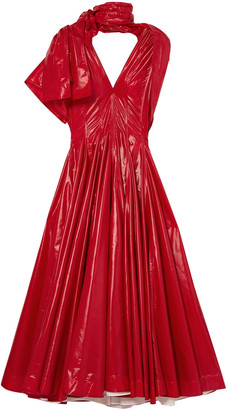 Calvin Klein Bow-detailed Pleated Vinyl Maxi Dress