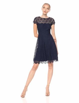 Kensie Dress Women's Scallop LACE Navy Dress 14