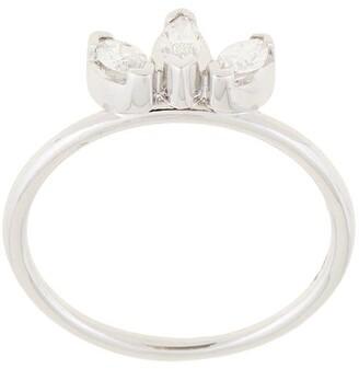 Natalie Marie 14kt white gold Three Stone Diamond Sun ring